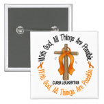 Leukaemia Awareness WITH GOD CROSS 15 Cm Square Badge
