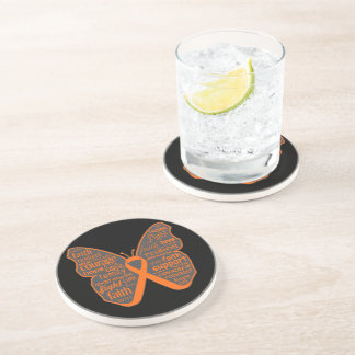 Leukemia Butterfly Collage of Words Beverage Coasters