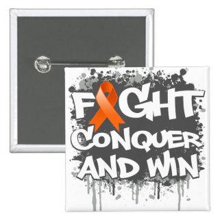 Leukemia Fight Conquer and Win 15 Cm Square Badge