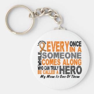 Leukemia HERO COMES ALONG 1 Mom Key Ring