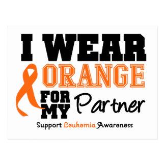 Leukemia I Wear Orange For My Partner Postcard