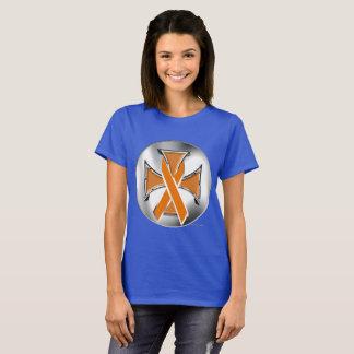 Leukemia Iron Cross Ladies T-Shirt