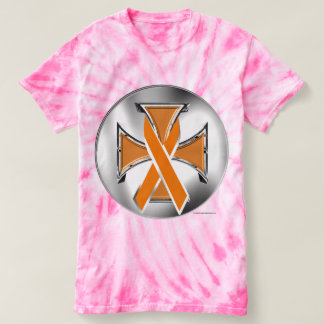 Leukemia Iron Cross Ladies Tie-Dye T-shirt