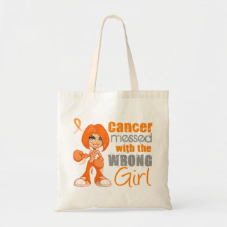 Leukemia Messed With Wrong Girl png Tote Bags