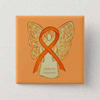 Leukemia Orange Awareness Ribbon Angel Art Pins
