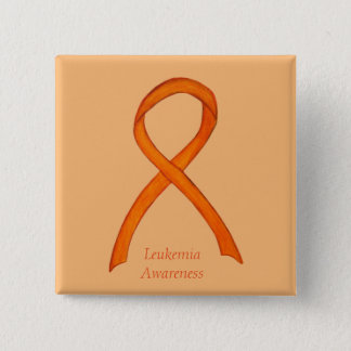 Leukemia Orange Awareness Ribbon Custom Art Pins