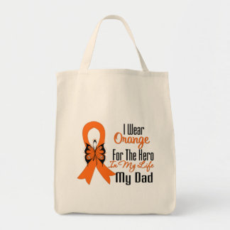 Leukemia Orange Ribbon Hero My Dad Canvas Bags