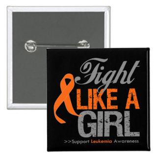 Leukemia Ribbon - Fight Like a Girl Pinback Button