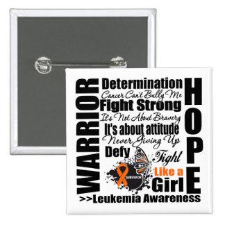Leukemia Warrior Fight Slogans Button
