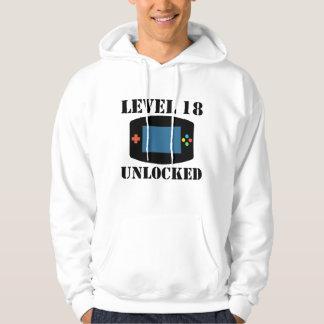 Level 18 Unlocked Video Games 18th Birthday Hoodie