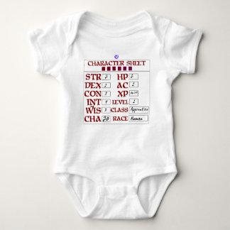 Level 1 Human Baby RPG Character Sheet Baby Bodysuit
