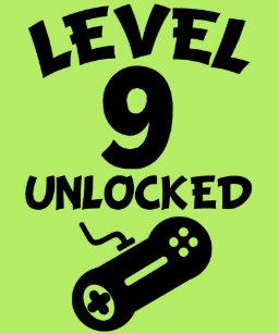 Level 9 Unlocked Video Games 9th Birthday T Shirt