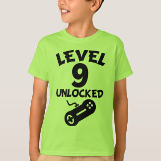 Level 9 Unlocked Video Games 9th Birthday T-Shirt