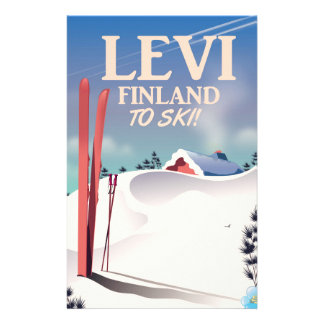 Levi, Finland ski travel poster Stationery