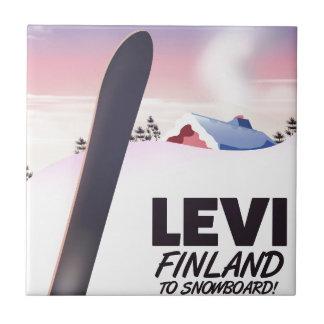 Levi Finland Snowboarding travel poster Ceramic Tile