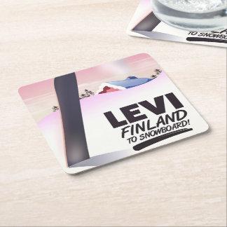 Levi Finland Snowboarding travel poster Square Paper Coaster