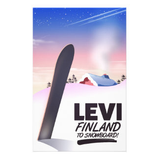 Levi Finland Snowboarding travel poster Stationery