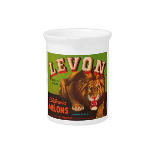Levon Calfironia Melons VIntage Crate Label - Lion Drink Pitcher