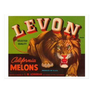 Levon Calfironia Melons VIntage Crate Label - Lion Postcard