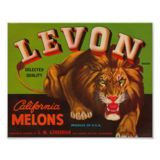 Levon Calfironia Melons VIntage Crate Label - Lion Poster
