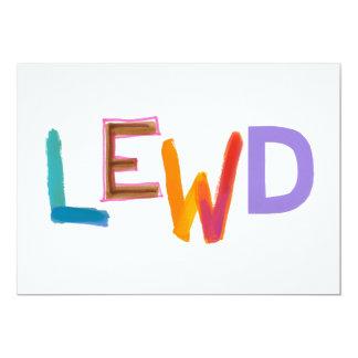 "Lewd fun silly risque crude naughty word art 5"" x 7"" invitation card"