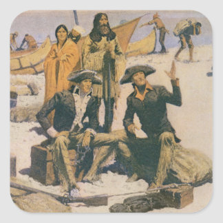 Lewis and Clark at the Columbia River Square Sticker