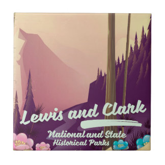 Lewis and Clark National and state park poster Ceramic Tile