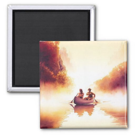 """""""Lewis and Clark"""" River Scene Watercolor Fridge Magnets"""