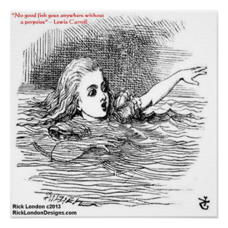 Lewis Carroll Looking Glass Illustration & Quote Poster