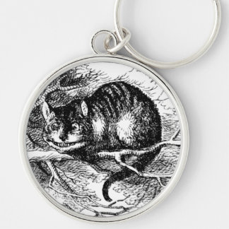 Lewis Carroll's Cheshire Cat Silver-Colored Round Key Ring
