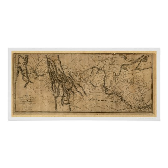 photograph about Lewis and Clark Printable Map titled Lewis Clark Expedition Map - 1804 Poster