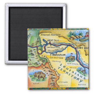 Lewis & Clark Expedition Map Square Magnet