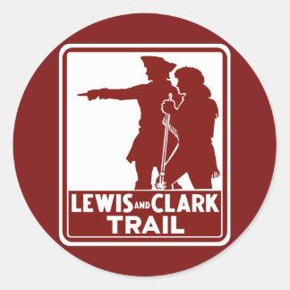 Lewis & Clark, Traffic Guide Sign, USA Round Sticker