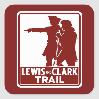 Lewis & Clark, Traffic Guide Sign, USA Square Sticker