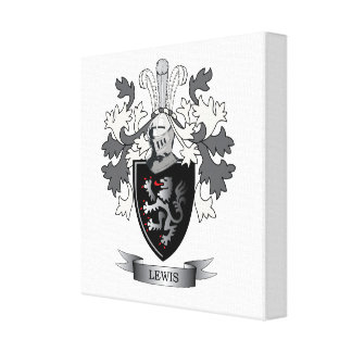Lewis Family Crest Coat of Arms Canvas Print