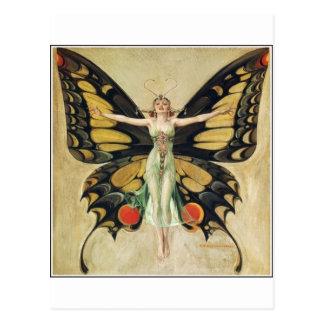 Leyendecker Butterfly Woman Postcard