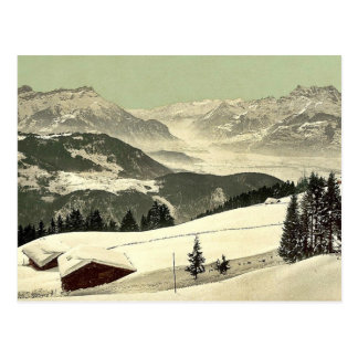 Leysin, view of the Rhone Valley in winter, Nand, Postcard