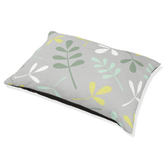 Lg Assorted Leaves Grns Yellow White on Grey Pet Bed