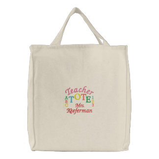 Lg. Embroidered Teacher Tote by SRF Embroidered Tote Bags
