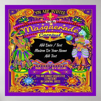 Lg. Masquerade Mardi Gras Carnival Poster - Theme