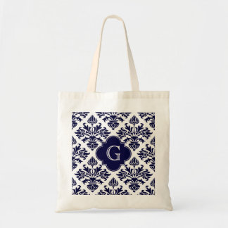 Lg Navy Blu Wht Damask #3 Navy Quatrefoil Monogram Budget Tote Bag