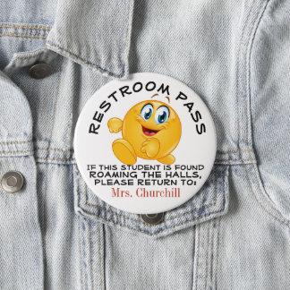 Lg. School Restroom Pass 10 Cm Round Badge