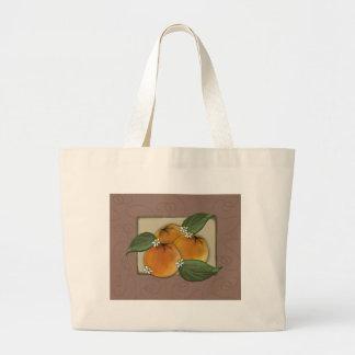 lg. tote - my favorite oranges label jumbo tote bag