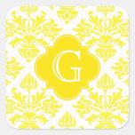Lg Yellow Damask Yellow Quatrefoil Monogram Square Stickers