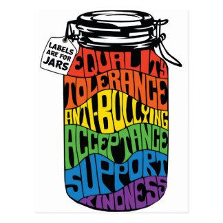 LGBT Equality Shirt Labels Are For Jars Postcard