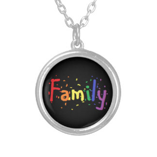 LGBT Family Logo. Silver Plated Necklace