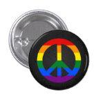 LGBT flag peace sign black button Buttons