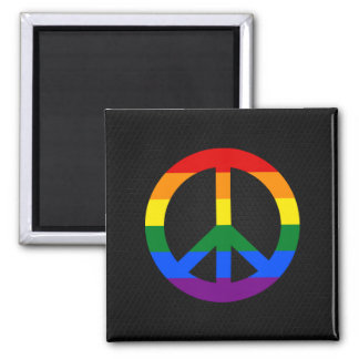 LGBT flag peace sign Magnet