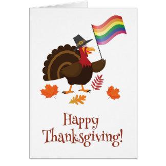 LGBT flag Thanksgiving Turkey Card