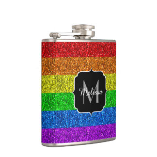 LGBT flag vibrant sparkles Monogram Hip Flask